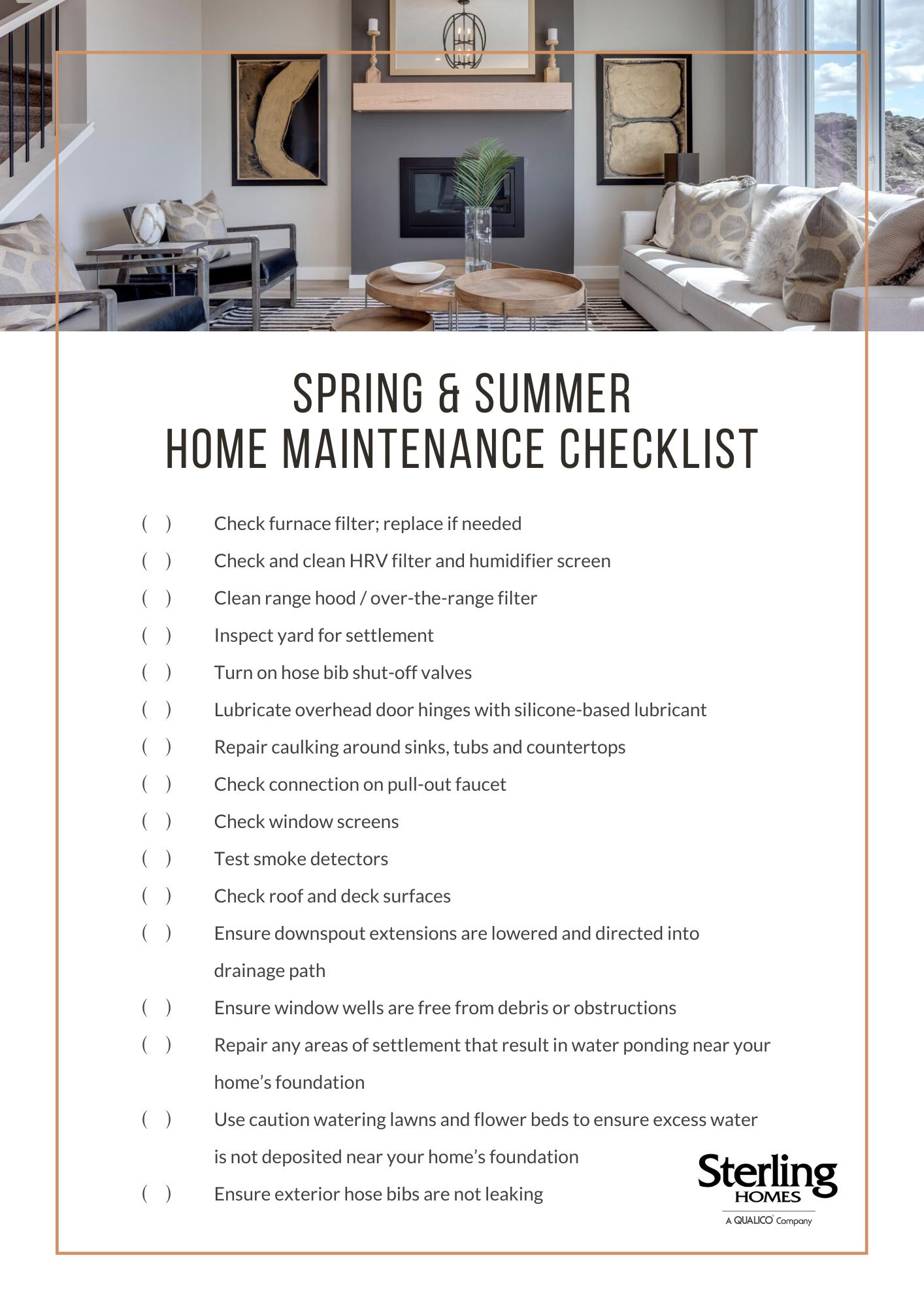 2020.05.21 Home Maintenance Checklist_Spring Summer