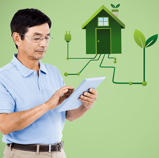 Tips to Make Your Home More Energy Efficient Man Tablet Imageg